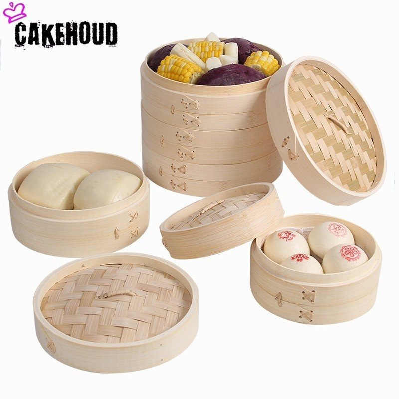 CAKEHOUD Kitchen Bamboo Steamer Fish Rice Vegetable Snack Basket Set Cooking Tools Handmade Bamboo Steamer To Send Steamer Cloth