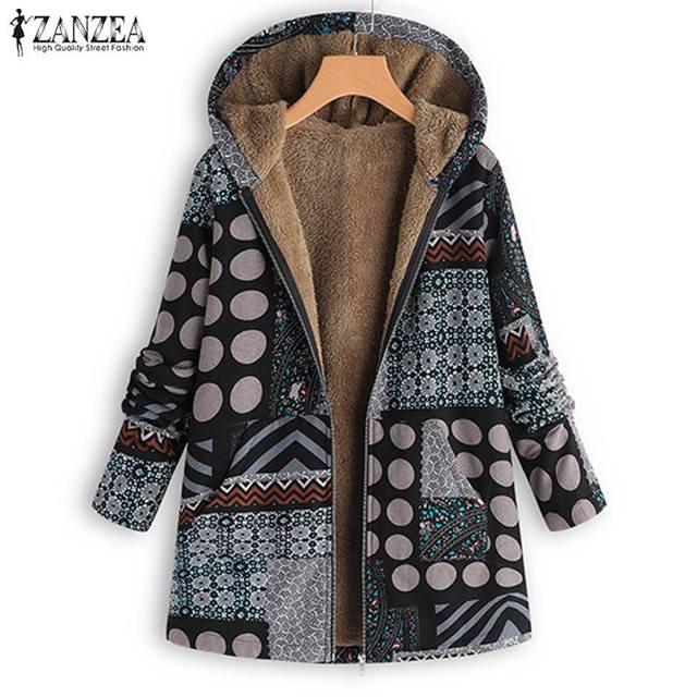 ZANZEA Vintage Women Winter Fur Fleece Long Sleeve Coat Female Hooded Outwear Print Jackets Casual Zipper Cardigans Plus Size