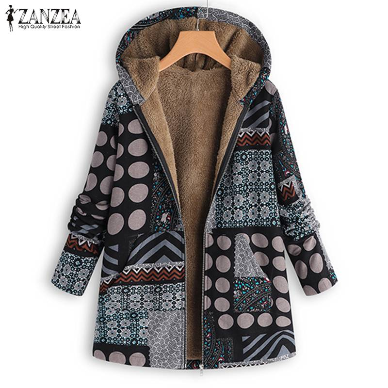 ZANZEA Vintage Women Winter Fur Fleece Long Sleeve Coat Female Hooded Outwear Print Jackets Casual Zipper Cardigans Plus Size