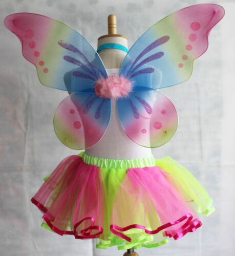 BUTTERFLY ANGEL FAIRY GIRLS LADIES RAINBOW WINGS FANCY DRESS DRESSING UP PARTY
