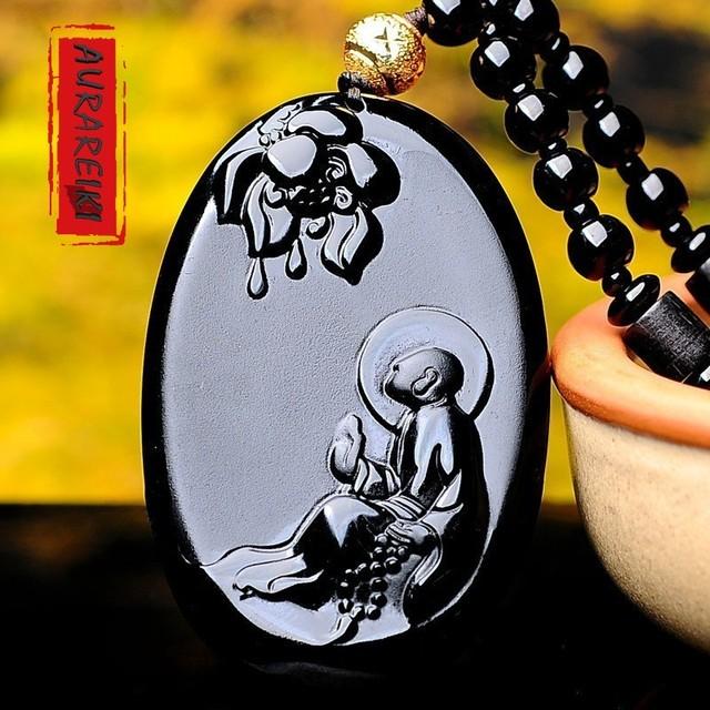 Bodhidharma Obsidian Pendant