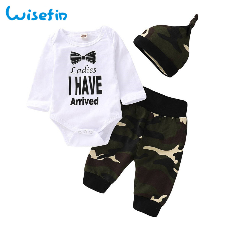 Wisefin Baby Set Clothes For Newborn Boy Autumn 3Pcs Tops+Pant+Hat Outfit Bodysuit