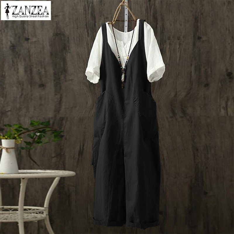 ZANZEA 2019 Summer Linen Overalls Women Strap Jumpsuits Female V Neck Sleeveless Solid Rompers Femme Dungarees Playsuits Pants