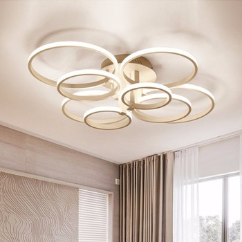 Modern LED Chandelier Lights For Dining Living Room Bedroom Lamp Fixtures Dimmable With Remote Control Home Decor Rings Lustre