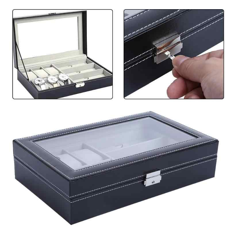 Fashion Watch Box Luxury Leather Watches Clock Display Boxes Case Square Jewelry Watch Holder Organizer Gift saat kutusu