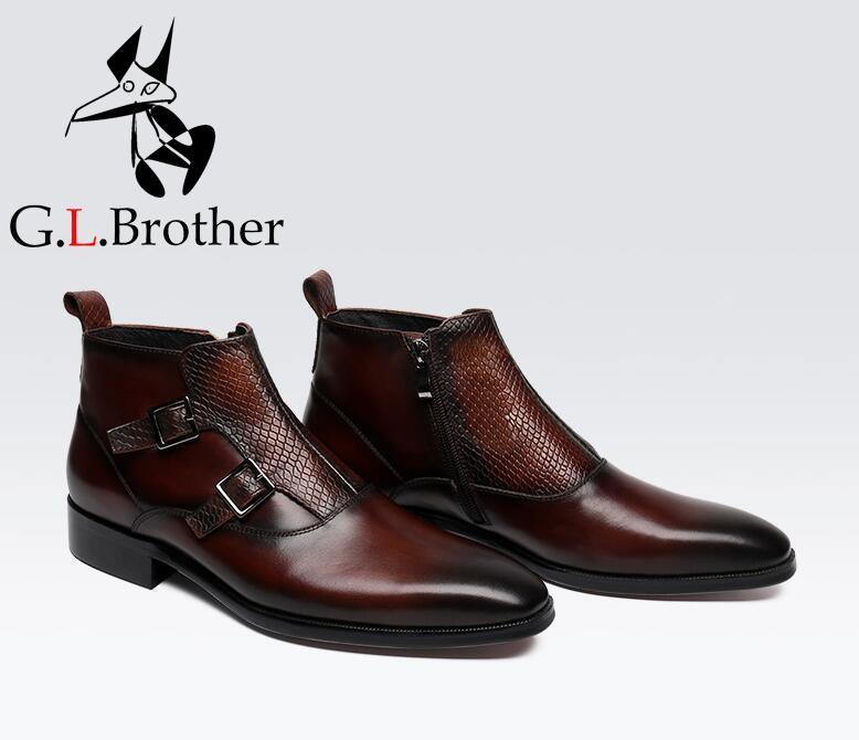 Smart Casual High Top Shoes Men's Ankle Boots Pointed Toes Genuine Leather Buckle Strap Classical Side Zipper Dress Shoes недорого