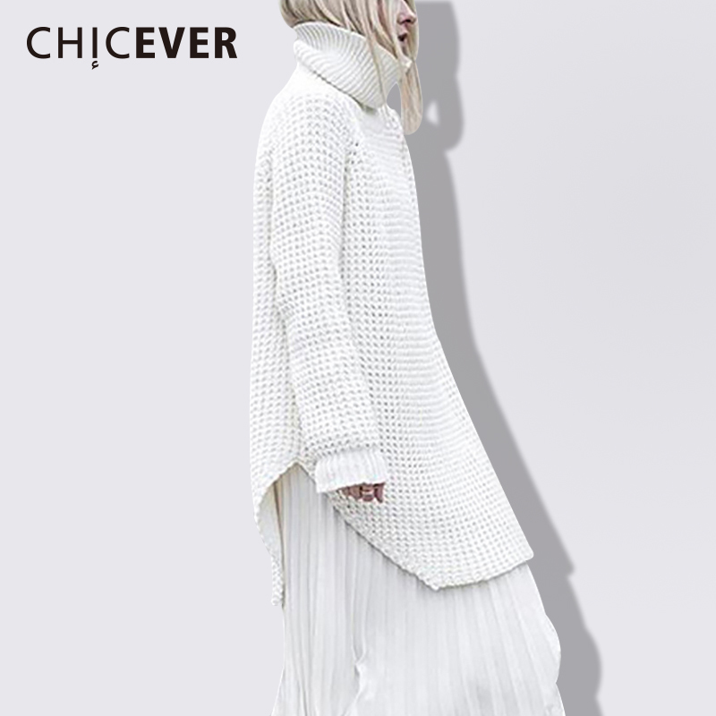 CHICEVER Knitted Women Sweater Jumper Top Pullovers long Sleeve Plus Thick Loose Warm Winter Female Sweaters Clothes Fashion