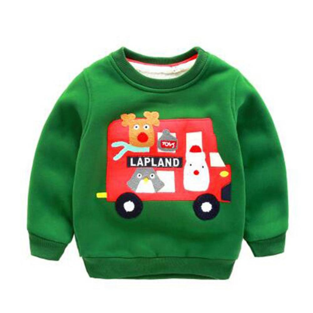 2018 Autumn and Winter Children's Warm Plus Velvet Thickening Tops 2-5 Years Old Boys and Girls Christmas Round Neck Sweatshirt цена 2017
