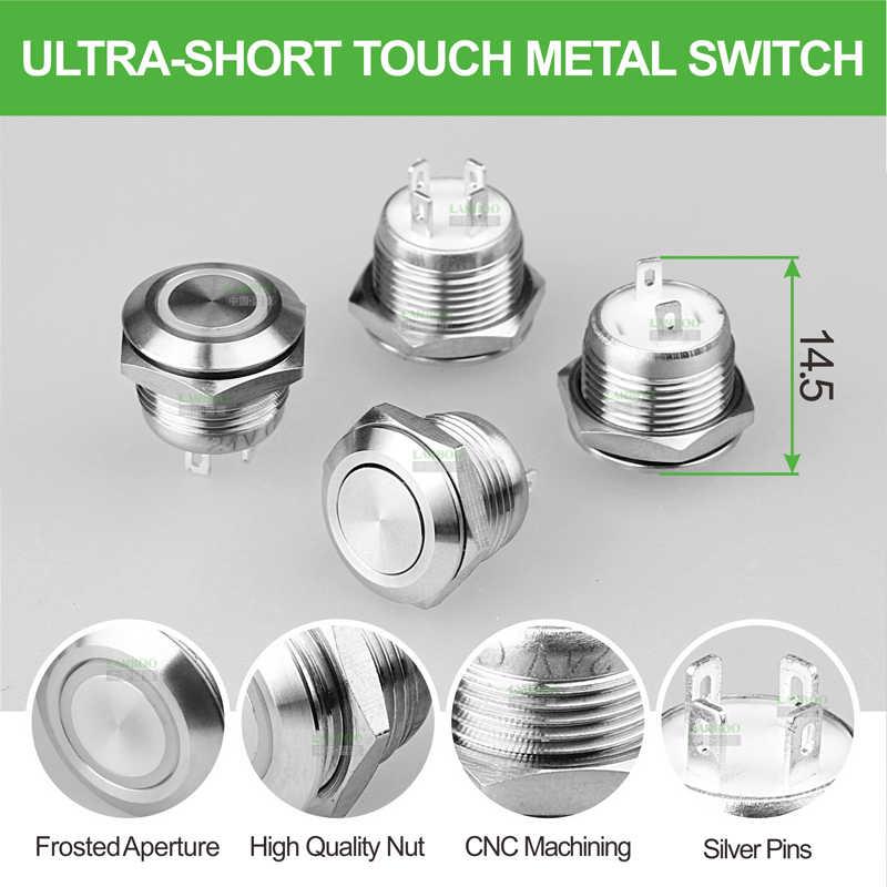 LANBOO Fabrik 12mm16mm19mm22mm25mm30mm kurze touch push taste, momentary tact schalter mit led
