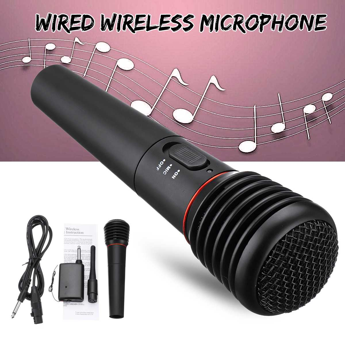 2in1 Professional Wired Wireless Handheld Microphone Mic Dynamic Cordless For KTV Karaoke Party Recording Speaking Stage Gift
