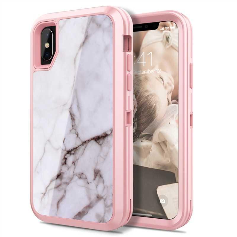 Yokata 3 Dalam 1 Hard PC Case untuk iPhone 6 6s Plus Cover untuk Flamingo Hitam Putih Marmer Terbaik Perlindungan Coque untuk iPhone X Funda