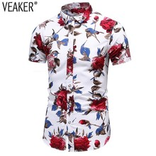 2019 New Men's Slim fit Flower Printed Shirts Male Short Sleeve Floral