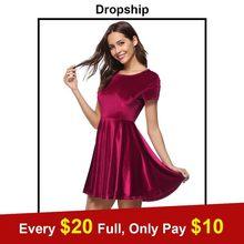 Dropship Party Dress Women Robe Femme Summer Vestidos Verano 2018 Vestido  Velvet Mujer Red Casual Ladies 6ff1ca242e3e