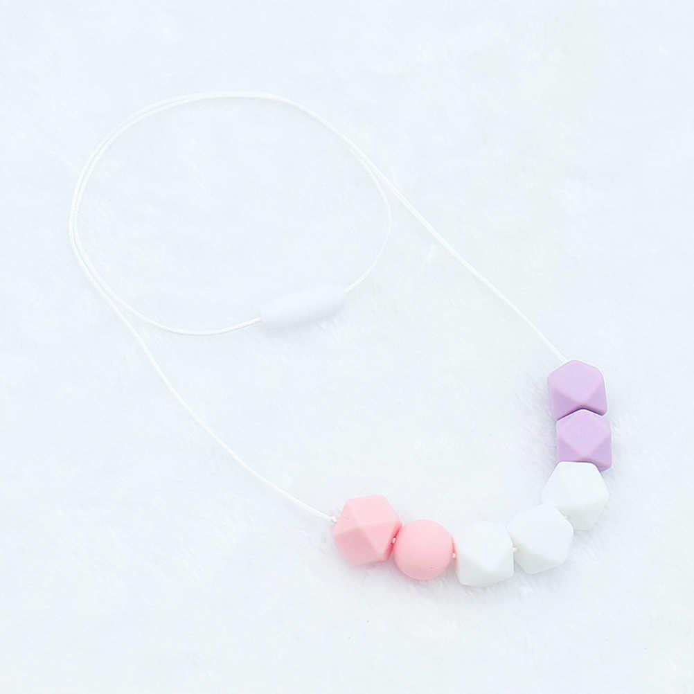 Детские силиконовые браслеты для прорезывания зубов Пищевая силиконовая Подвеска Ожерелье-прорезыватель шестигранные силиконовые бусины для кормления Прорезыватель ожерелье