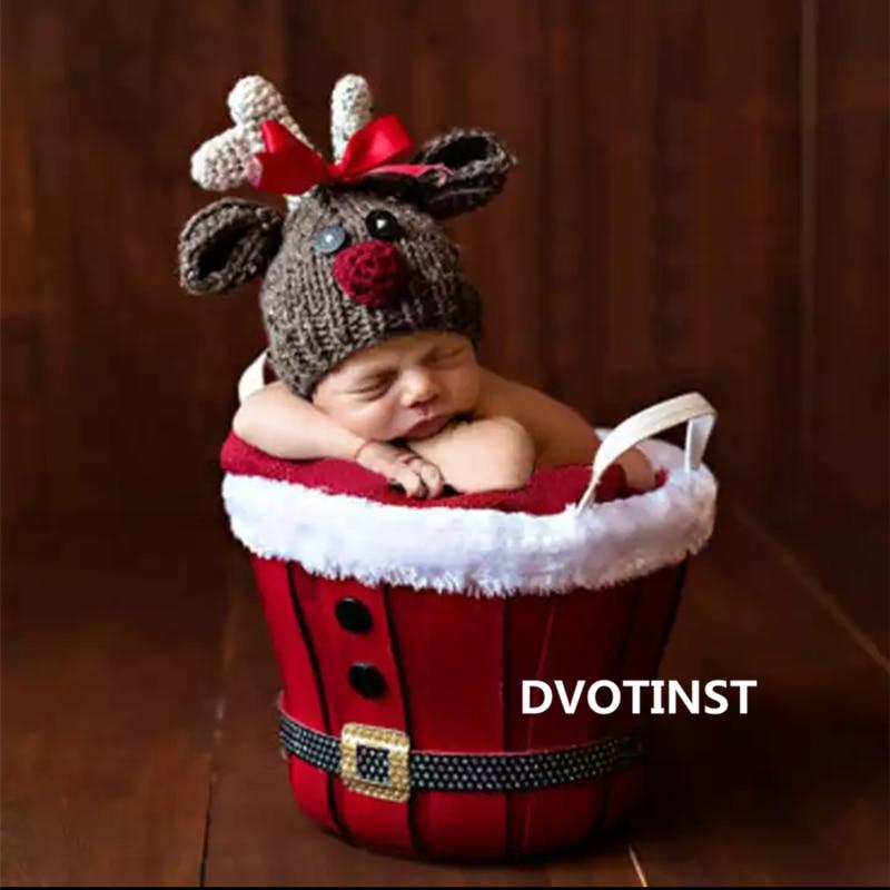 Dvotinst Newborn Baby Photography Props Christmas Round Basket X'mas Posing Tub Fotografia Accessories Studio Shoot Photo Prop