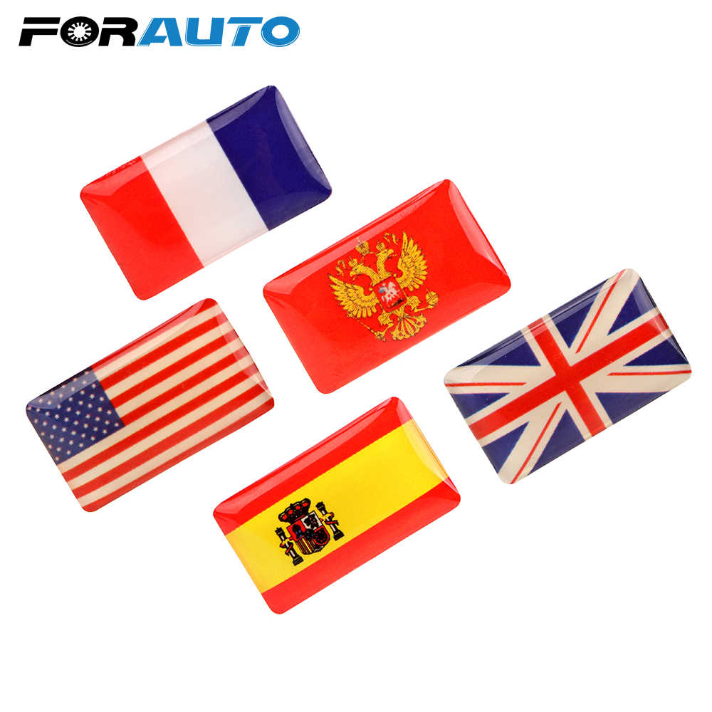 FORAYTO 5 Pieces/set 3D Shield Flag Car Sticker United Kingdom USA Spain France Emblem Car-styling Car Decoration Decals