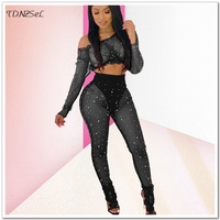 Women Sexy Sheer Mesh Pearls Trousers Sets Hollow Off Shoulder Crop Top Elastic Waist Pencil Pants See Through 2 Two Piece Sets