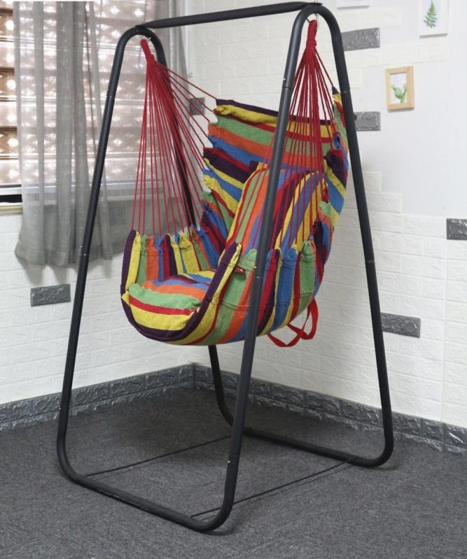 Indoor Patio Swings Garden Furnitures Outdoor Hanging Chair With Metal Stand University Dormitory Lazy Cradle Hammock HW01