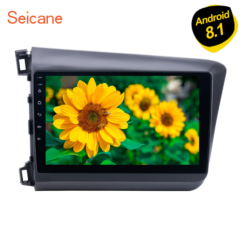Seicane Android 6.0/7.1/8.1 10.1 2Din Car Radio Audio Stereo GPS Multimedia Player For 2012 Honda Civic with CD DVD Player Wifi