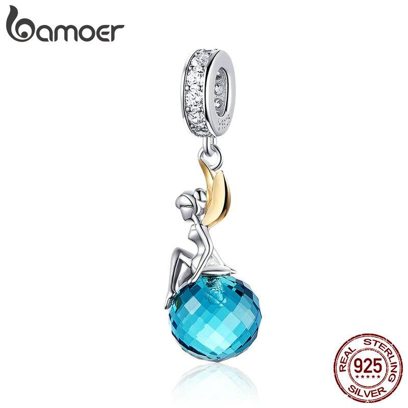 BAMOER Authentic 925 Sterling Silver Elf Planeta Azul Zircão Pingente Encantos fit Colares & Bangles Jóias Presente Original BSC056