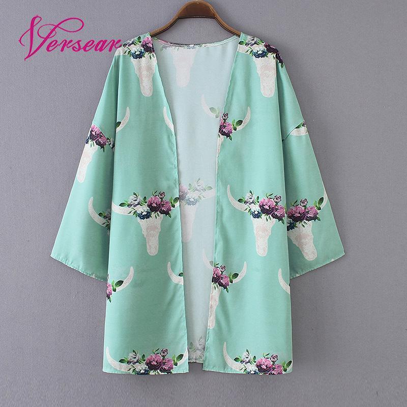 Versear Summer Boho Style Women Chiffon Cardigan Floral Printed Loose Outerwear Beach Bikini Cover Ups Shawl Kimono Tops 3XL
