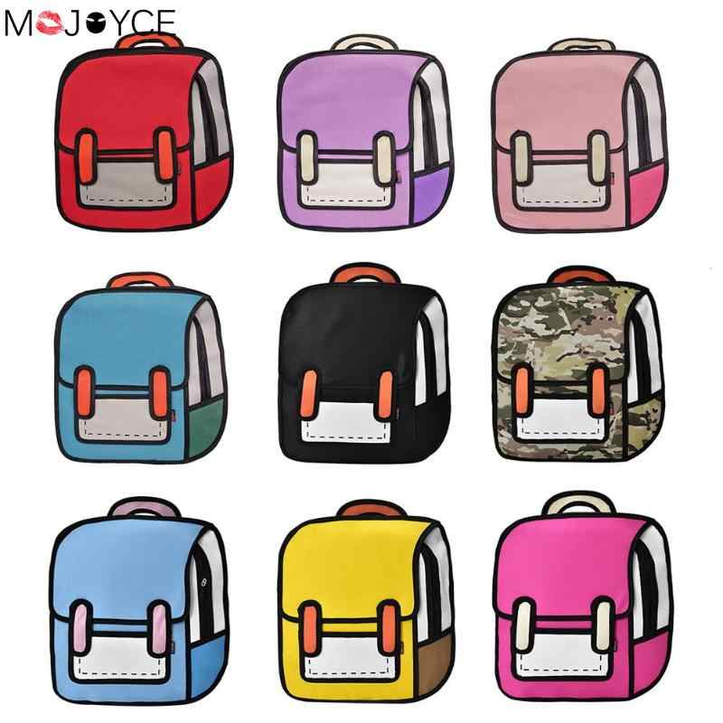 0f49c6d94256 Creative Design Bags for Women 2018 Girl Backpack 2D Drawing 3D Jump Style  Cartoon Travel School