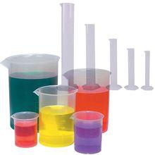 5 Sizes Clear Plastic Graduated Cylinders (10 25 50 100 250ml) 5 Pack Plastic Beakers Set- 50, 100, 250, 500, 1000ML