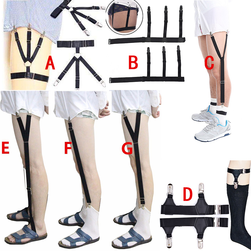 1 Pair Men Shirt Stays Belt With Non-slip Locking Clips Keep Shirt Tucked Leg Thigh Suspender Y-shape Garters Strap