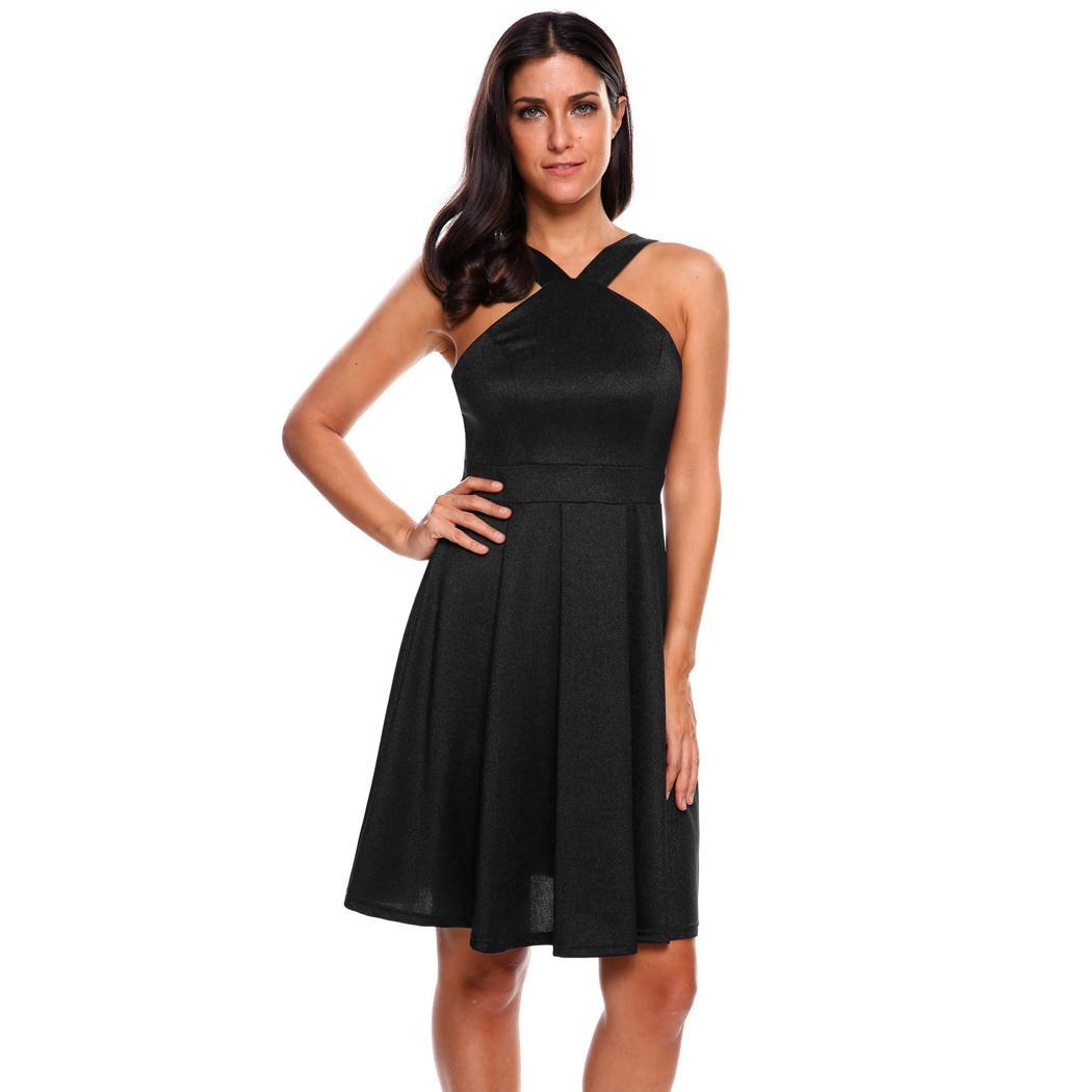 AL'OFA Women Sexy   Cocktail     Dress   Elegant V-neck Sleeveless Off-shoulder Solid Slim Club Party Pleated   Dress   Homecoming   Dresses