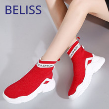 BELISS 2018 women sock boots high platform ankle wedges round toe running shoes comfortable sneakers sports B74