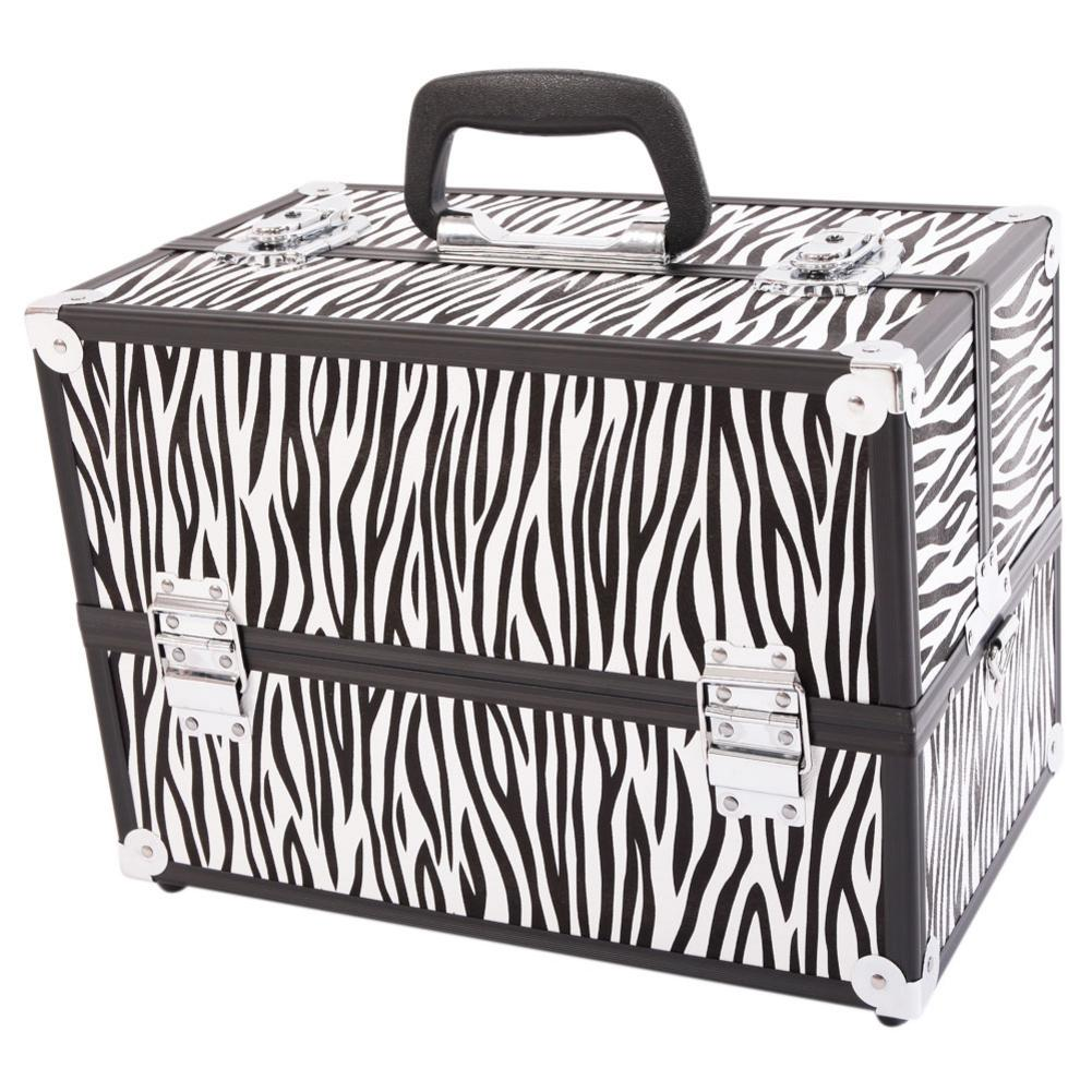 Professional Cosmetic Case White Zebra Stripe Makeup Train Case Aluminum Alloy Accordion Suitcase Portable Sling Crossbody Bag Professional Cosmetic Case White Zebra Stripe Makeup Train Case Aluminum Alloy Accordion Suitcase Portable Sling Crossbody Bag