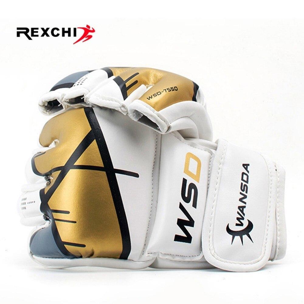 REXCHI Half Finger MMA Gloves For Kick Boxing Men Women PU Karate Muay Thai Guantes De Boxeo Free Fight Sanda Training Equipment