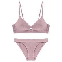 4490848a12985 2019 عالية الجودة ملابس داخلية قطنية مجموعة الأزياء مخطط الصدرية مجموعة  مجموعة الملابس الداخلية دفع ما