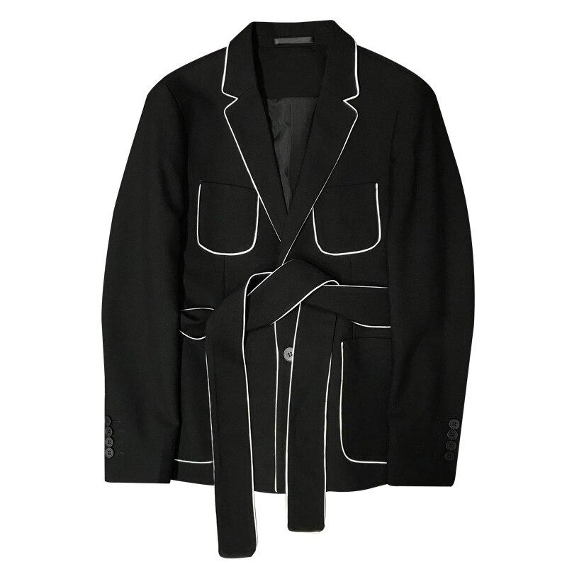 2019 Spring Long Sleeve Belt Decoration Man's Suit Korean Self-cultivation Weave Bring Full Dress Suit Man Suit Ternos Masculino