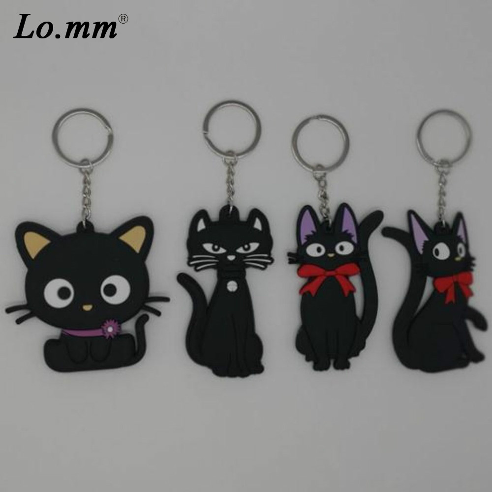 Anime Kiki's Delivery Service Kiki pvc key chain animal cartoon black cat keyrings cos toys souvenir kid llavero hombre keychain