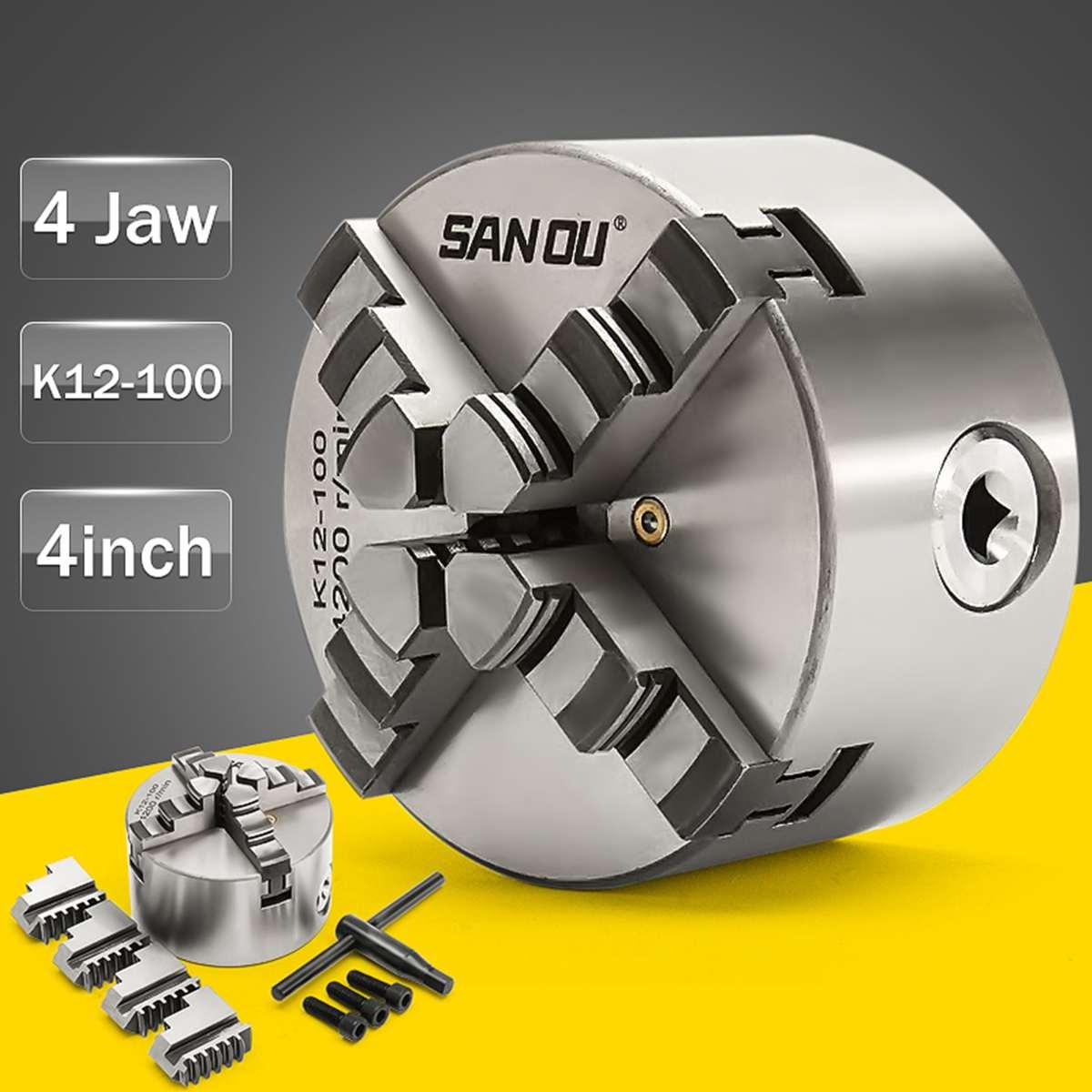 ] SANOU K12-100 Tour Chuck 100mm 4 Jaw Auto-centrage Mandrin Durci Réversible Outil