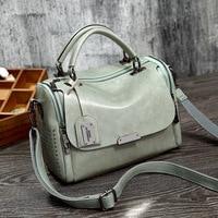 2019 Vintage Boston Genuine Leather Luxury Handbags Designer Shoulder Bag Female Rivet Women Messenger Bags Tote Sac A Main