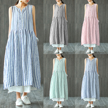 ZANZEA Summer Sleeveless Dress 2019 Elegant Work Striped Long Shirt Vestido Women Casaul V-neck Blue Long Maxi Vest Tank Dresses