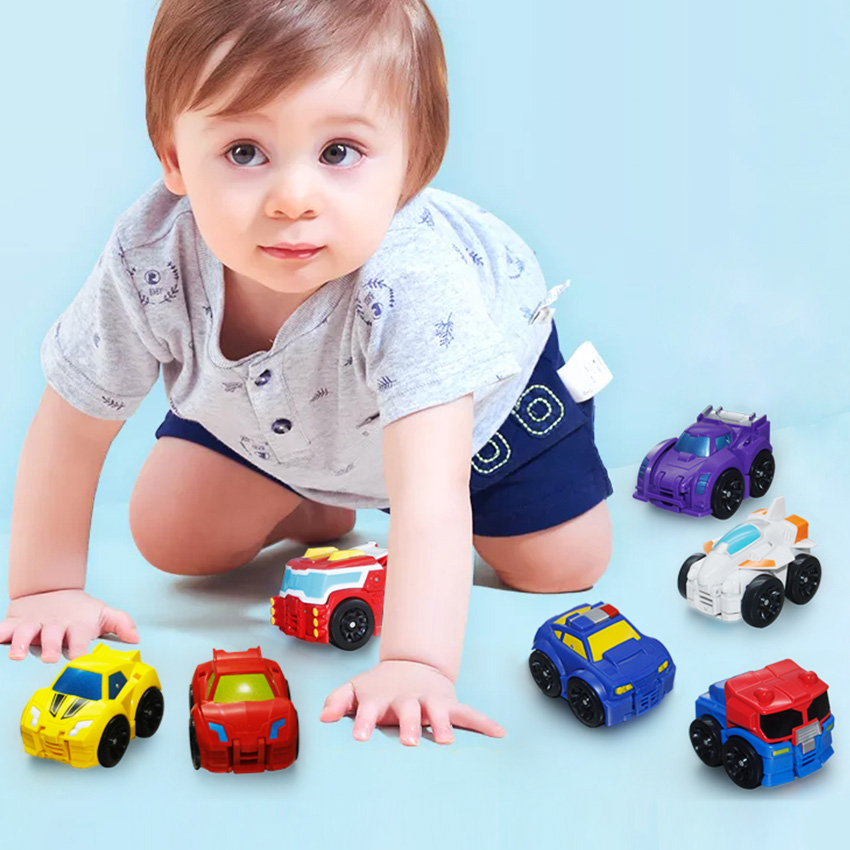 So Cute Mini Transformation Deformation Robot Car Model 7 Colors Free-Wheel Car Action Figures Education Toys Gift For Boy Girl