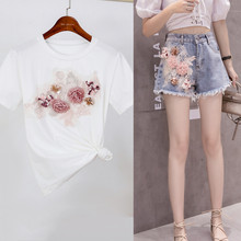 Harajuku Korean Women 2 Pieces Pants Set Beaded Pearls Embroidery Cotton T-Shirts White Tees + Tassels Jeans Shorts Pants Suits(China)