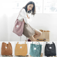 Big Capacity Corduroy Tote Bag Pink Women Vintage Style Outfit Cute Ladies Casual Reusable Shopping Beach