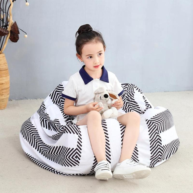 2 In 1 Durable Storage Bag Large Capacity Practical Zipper Organizer Pouch Striped Chair Home Clothes Storage As Chair Portable