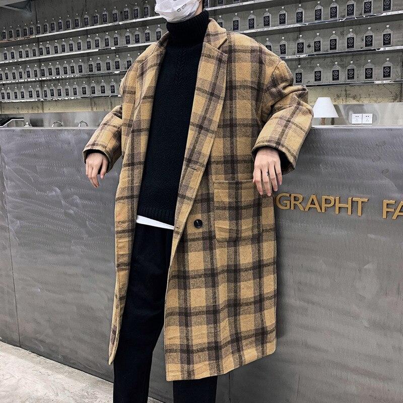 Зимнее новое шерстяное пальто Мужская мода двубортное клетчатое пальто Мужская Повседневная Свободная трендовая длинная куртка мужская одежда уличная