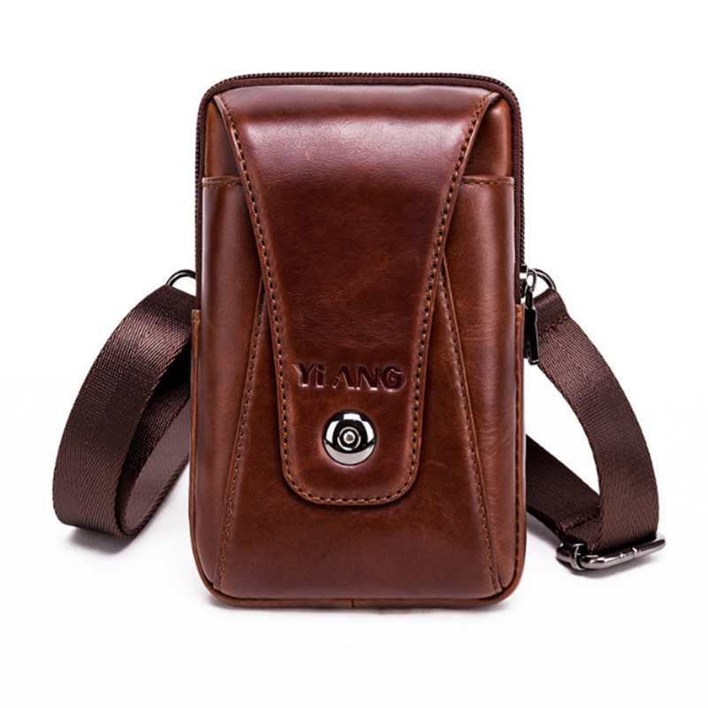 Yiang Men Crossbody Cell Phone Case Waist Belt Pack Bag Purse Hook Vertical Male Genuine Leather Small Shoulder Fanny Messenge