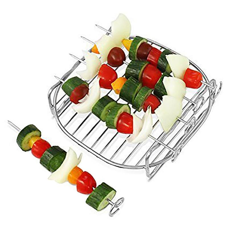 DIY Stainless Steel Double Layer Grill Rack With 4 Skewers For Electric Air Fryer Electric Deep Fryer Parts Suitable For HD9232