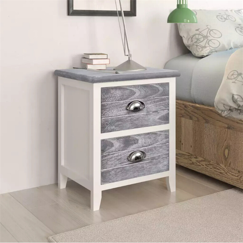 VidaXL Nightstand 2 Pcs With 2 Drawers Grey And White Bedroom Side Cabinets Strong Plywood High-Quality Paulownia Wood FurnitureVidaXL Nightstand 2 Pcs With 2 Drawers Grey And White Bedroom Side Cabinets Strong Plywood High-Quality Paulownia Wood Furniture