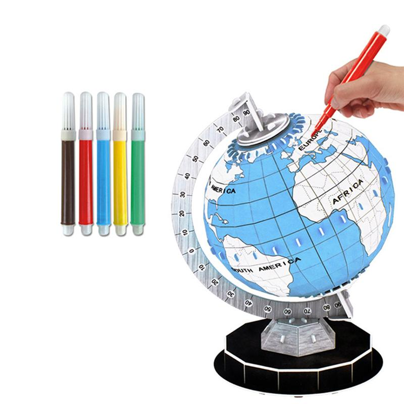 3D Jigsaw Paper Globe Model DIY Assembled Toys for Children Toddlers 3D Puzzle Globe