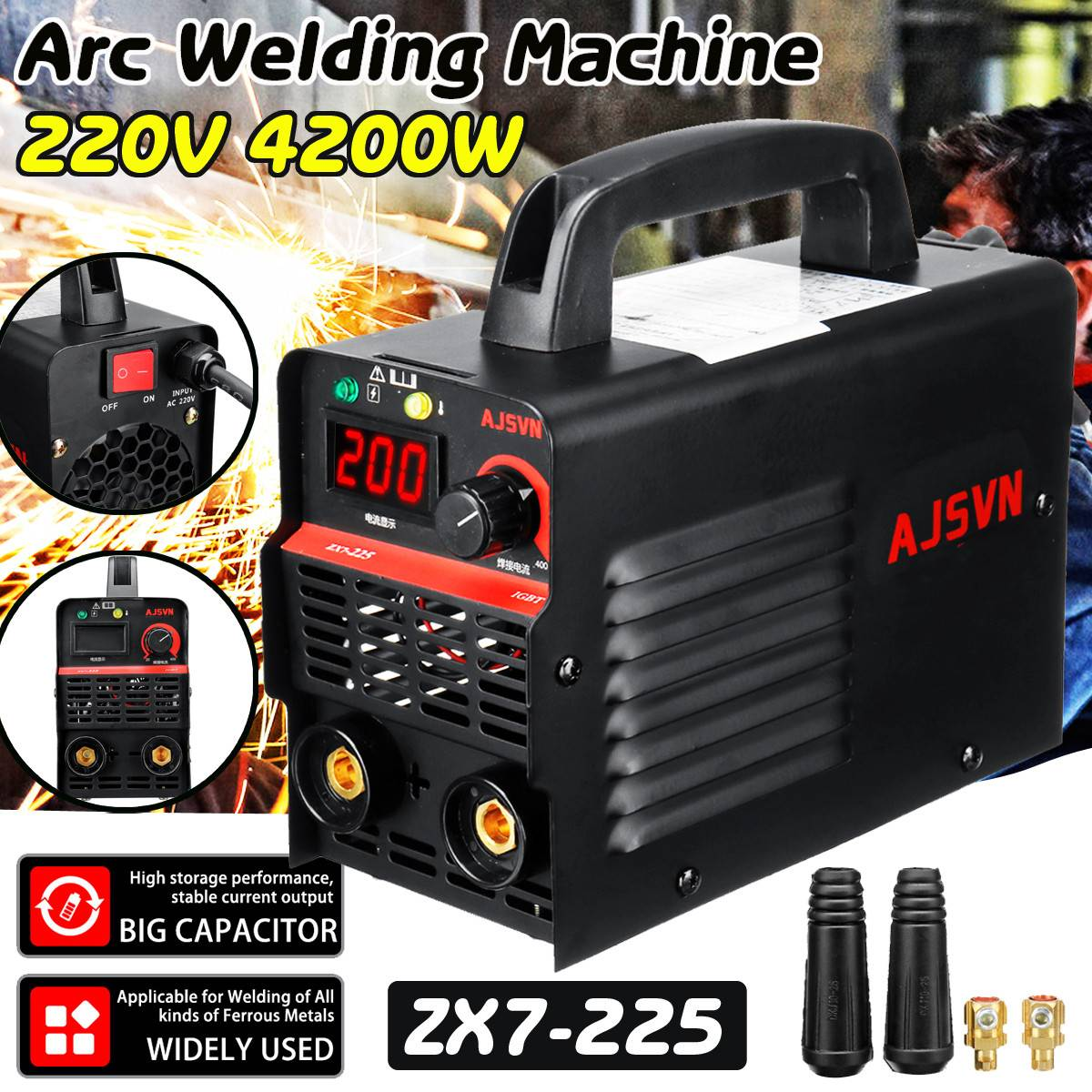 New 220V Adjustable 20A-225A 4200W Handheld IGBT Inverter Arc Welder-Welding Machine Digital Display Mini Portable Welding Tool