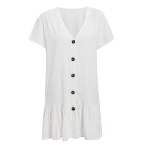 Image 5 - Bikinx V neck buttons bikini cover up Short sleeve white beach dress women tunic Sexy swimsuit cover up fashion beach wear 2019