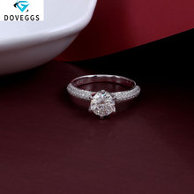 DovEggs 14K White Gold Center 1ct 6.5mm F Color Moissanite Diamond Engagement Rings For Women Wedding Ring with Accents